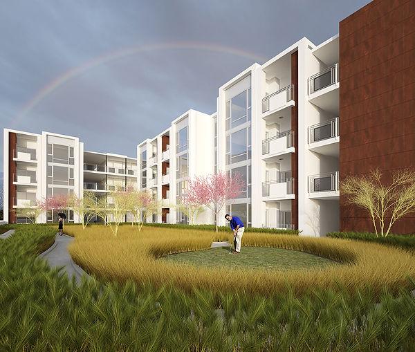 Mixed-use landscaped podium housing architecture