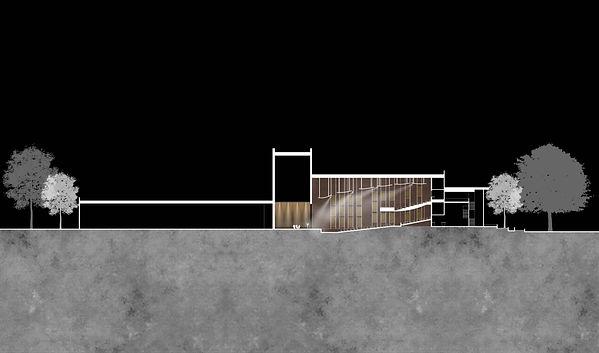 Architectural building section through high school auditorium