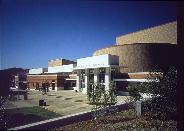 community college performing arts center brick, tile, white plaster