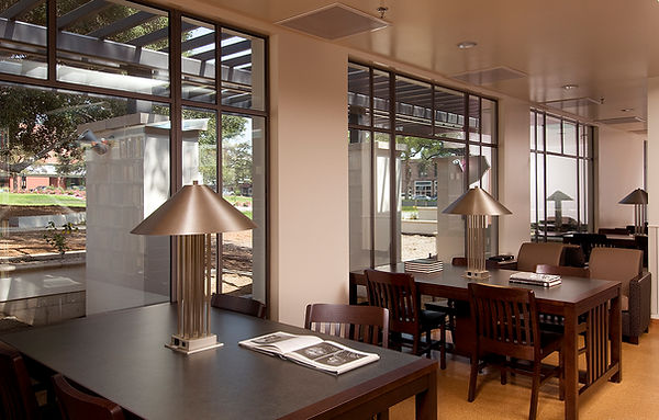 Monrovia Library adult library reading area interior design cork floor