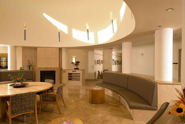 senior center reading lounge with circular skylight monitor