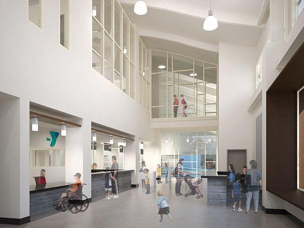 2-story ymca lobby transparent interior design