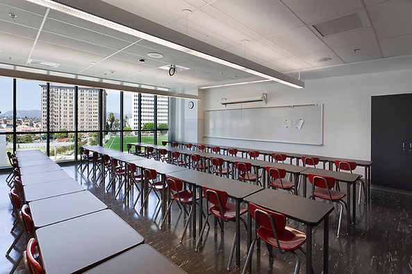 High School classroom all-glass wall to Hollywood Hills