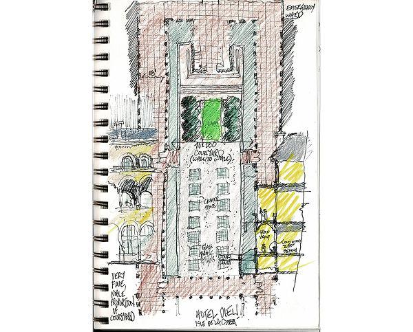 David Goodale Architect, Hotel-Dieu, hand sketch