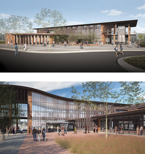community college student services glassy campus architecture