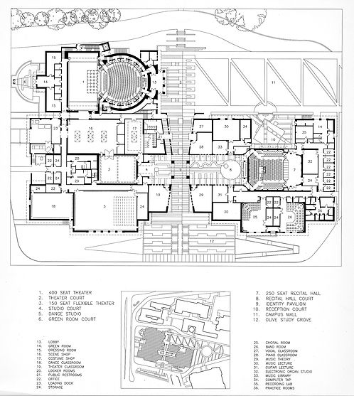 community college performing arts center circulation-integrated site plan