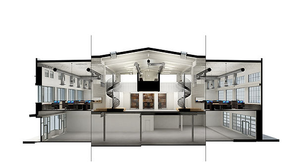 architectural studio daylit cross-section