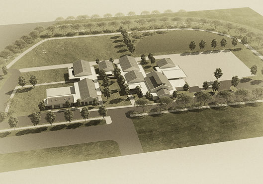 Agricultural campus, compact, classical layout