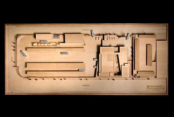 bus yard architecture wood model