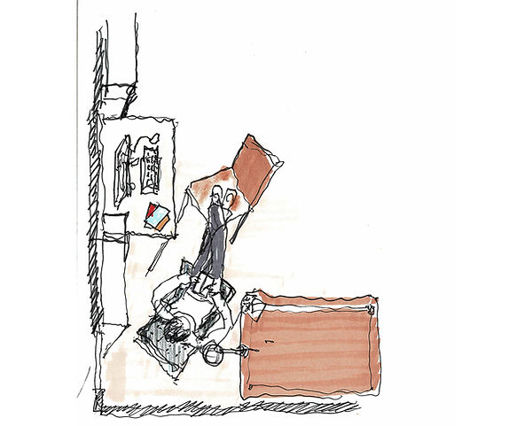 David Goodale Architect, Sketch, body in the corner of a room