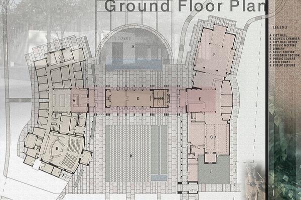 Contemporary civic center floor plan