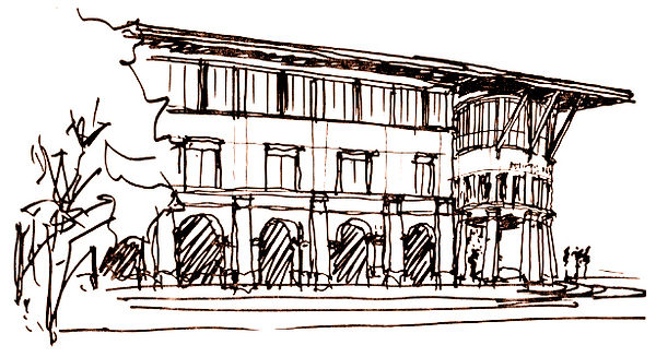 Architectural sketch civic center historicist project with glasy top