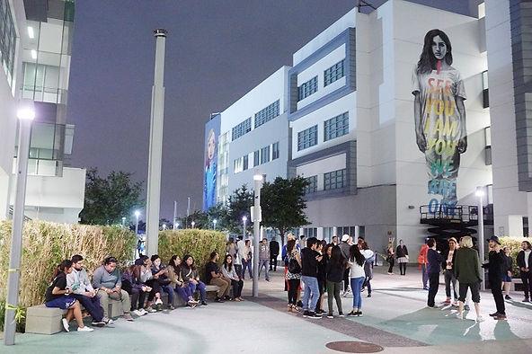 High school students new murals quad RFK School campus architecture