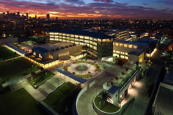 RFK school romantic night aerial view of campus LA skyline