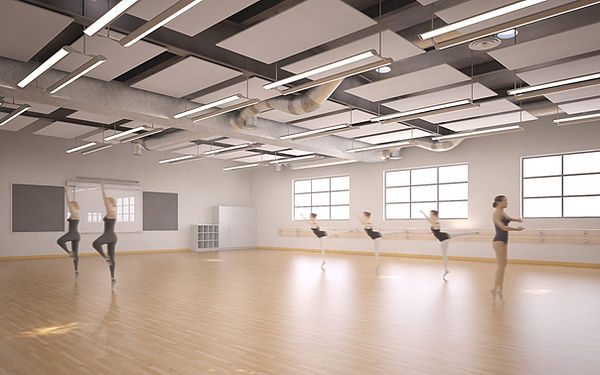dance gallery with open ceiing interior architecture