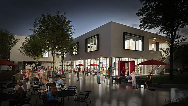New student center outdooor cafe and glassy lounge architecture