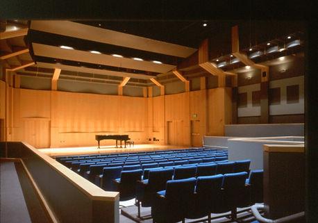 community college recital hall warm interior architecture