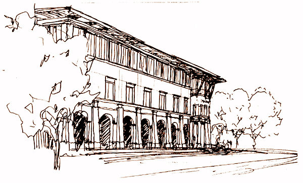 architectural sketch in context of civic center