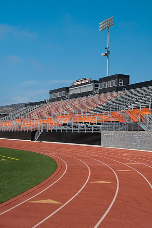 colorful track and field grandstand