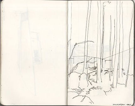 Alvar Aalto, hand sktch of building in forest