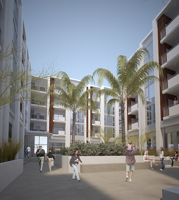 California mid-rise mixed use TOD architecture courtyard