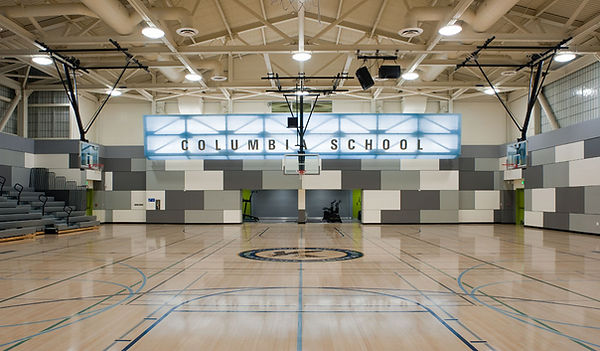 gym interior achitecture with acoustic mosaic 3-Form signage