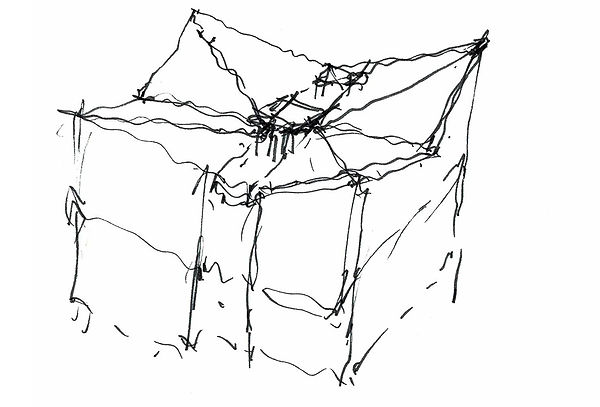 David Goodale Architect, Hand sketch, Study for LAUSD Competition, Flex Academic Building