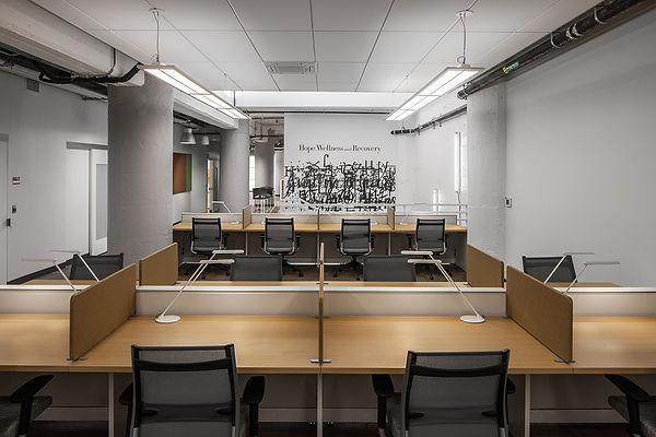 Mental health center office work area interior design