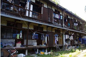 University of Kyoto historic dorm with laundry disorderly districts