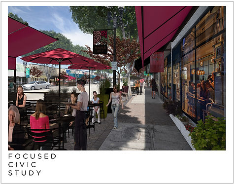 Incremental, phased civic improvements; Adaptive Re-use studies; Preliminary concepts
