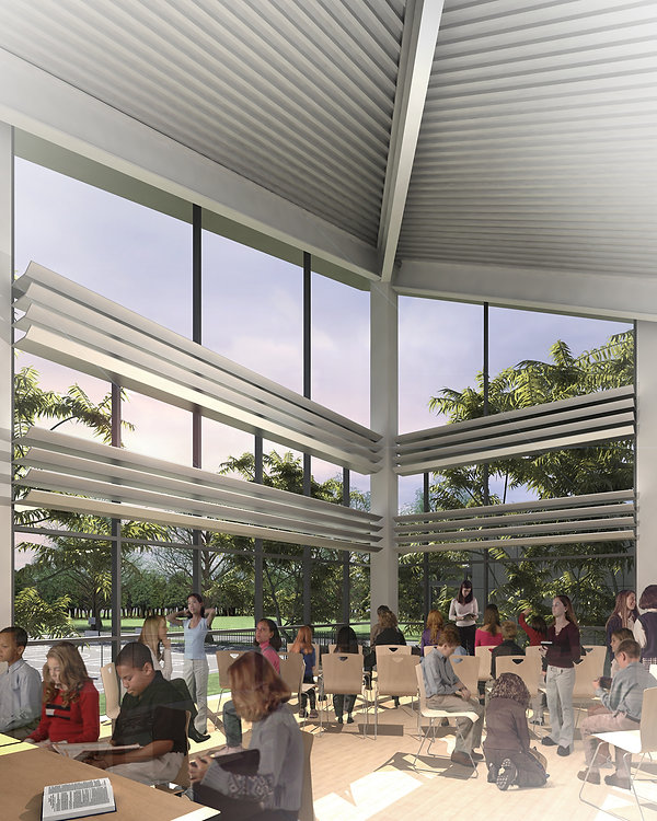 school architecture with views to nature and daylight