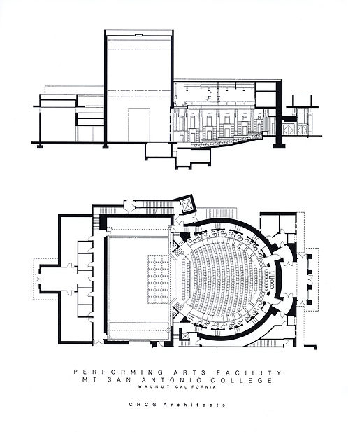 round theatre with box seats, architectural plan and section