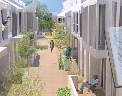Dense residential architecture garden courtyard
