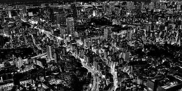 Aerial Tokyo at at night
