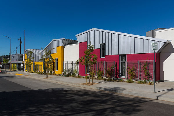 Colorful early education architecture angular roofscape
