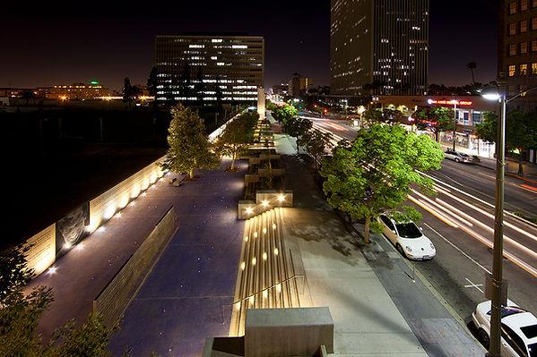 RFK sunken sidewalk Park on Wilshire Boulevard linear landscape architecture
