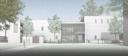 Student Center modernist elevation drawing