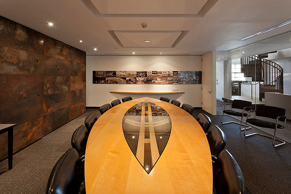 boat-shaped maple conference design by David Goodale AIA