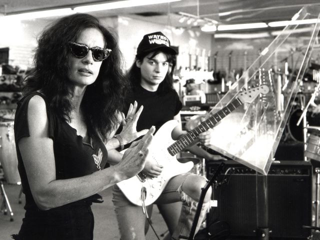 Penelope Spheeris on the set of Wayne's World with Mike Myers