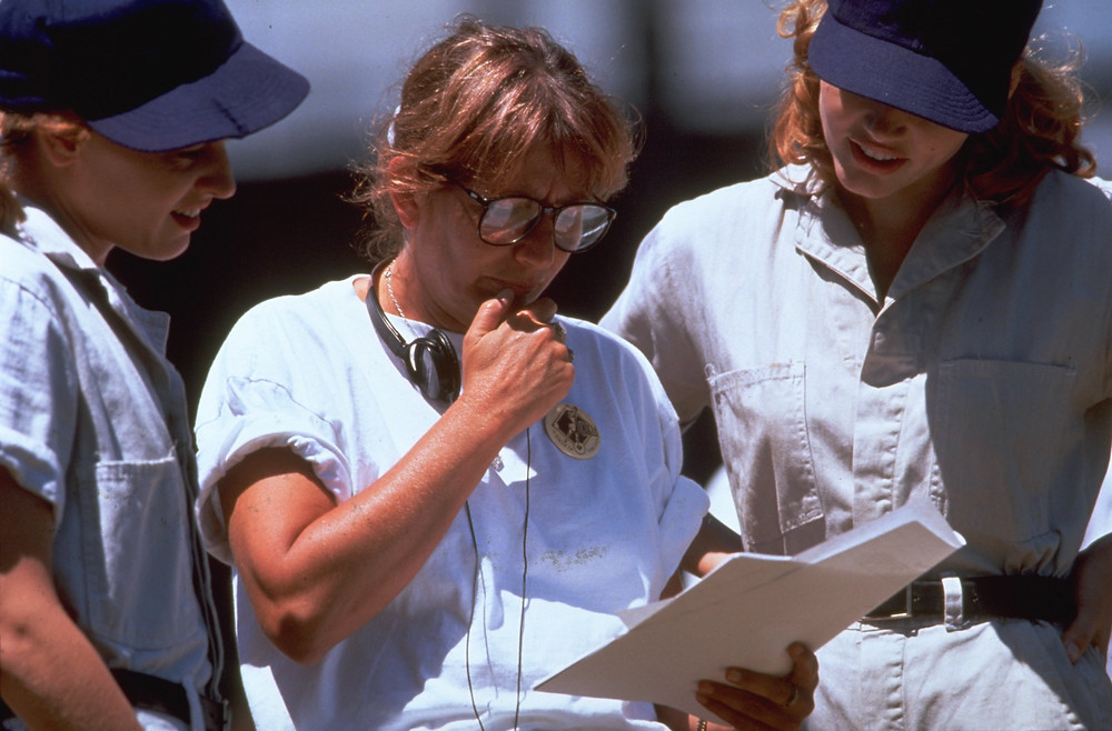 Director Penny Marshall on the set of A League of Their Own