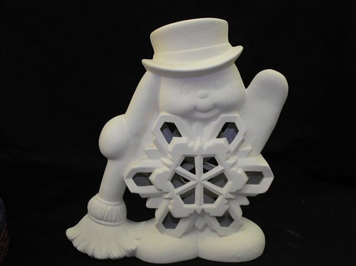 Large Snowman w/flake and broom