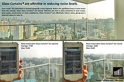 Frameless Glass Curtains® reduce noise by 25 dB