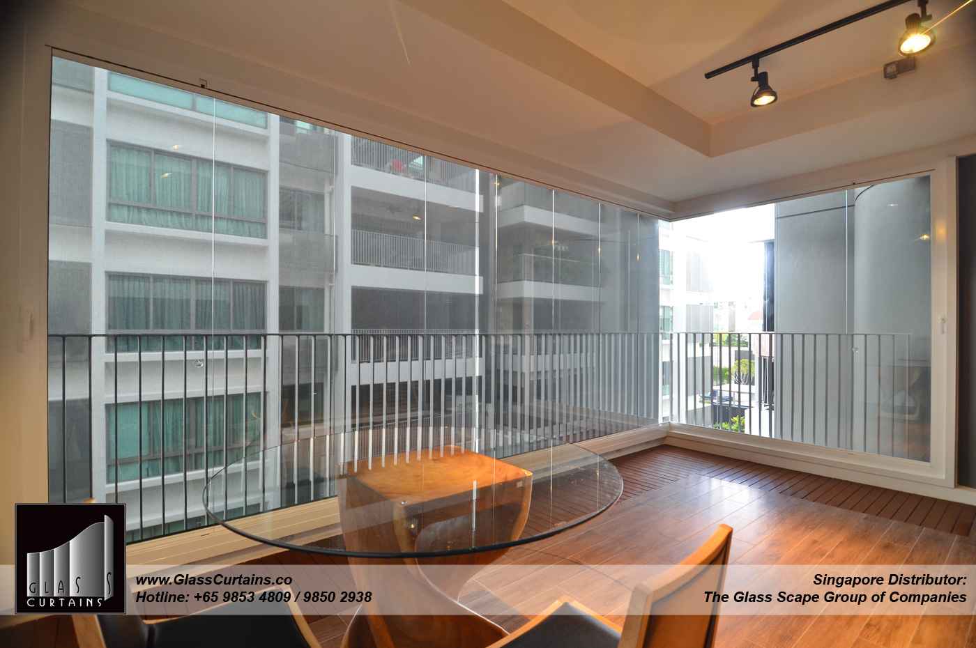balcony frameless glass doors