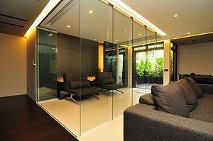 frameless glass doors partition home