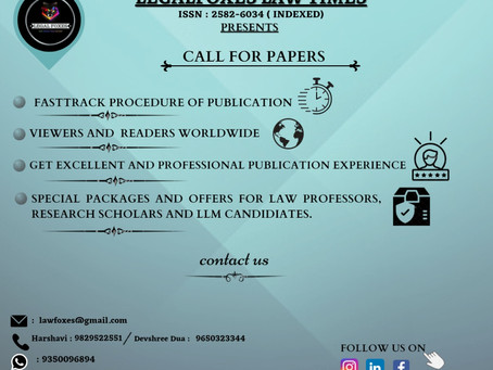 CfP: Legal Foxes Law Times [ISSN No: 2582-6034 (INDEXED), Vol II, Issue IV]: Submit by APRIL 20