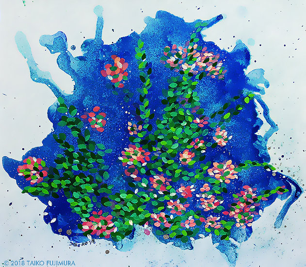 Mixed media painting on shikishi board. The leaves and petals dancing and floating in the abstract background.