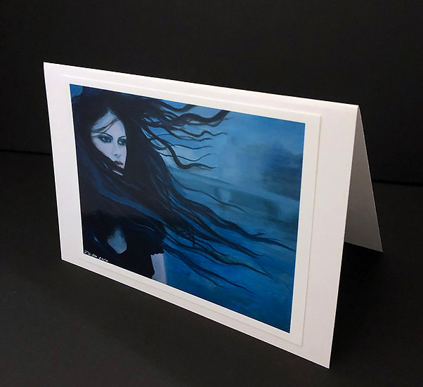 """Art (Greeting) Card of """"Le Vent Bleu (The Blue Wind)"""""""