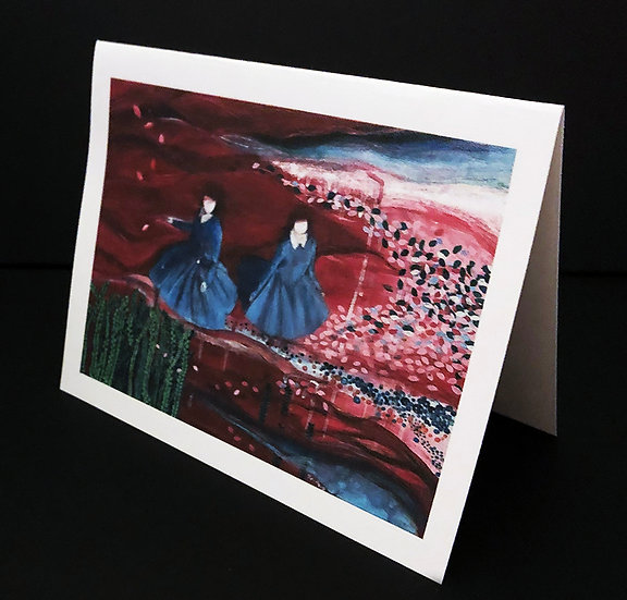 """Art (Greeting) Card of """"Sisters - Going With The Flow"""""""