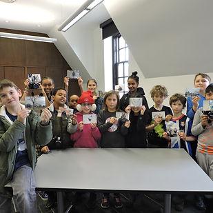kids using a portable printer