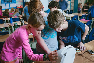 kids using a portable printer